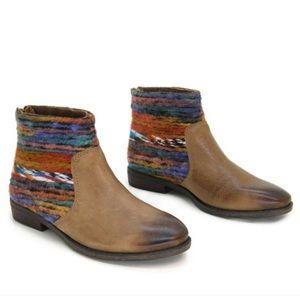 OTBT•Tilton Multi-Color Rainbow Braided Yarn Boho Ankle Boot Size 8.5